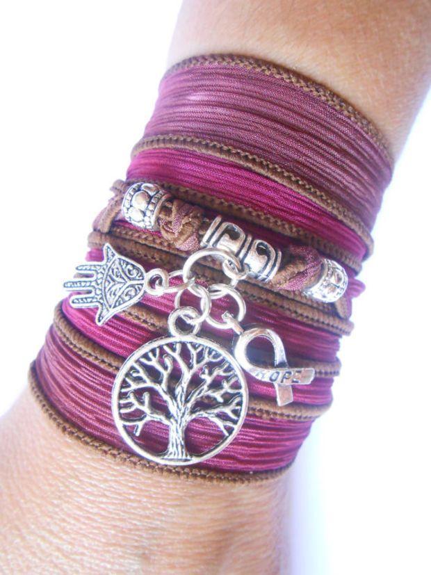 Breast cancer jewelry women awareness wrap bracelet silk for Breastmilk jewelry tree of life