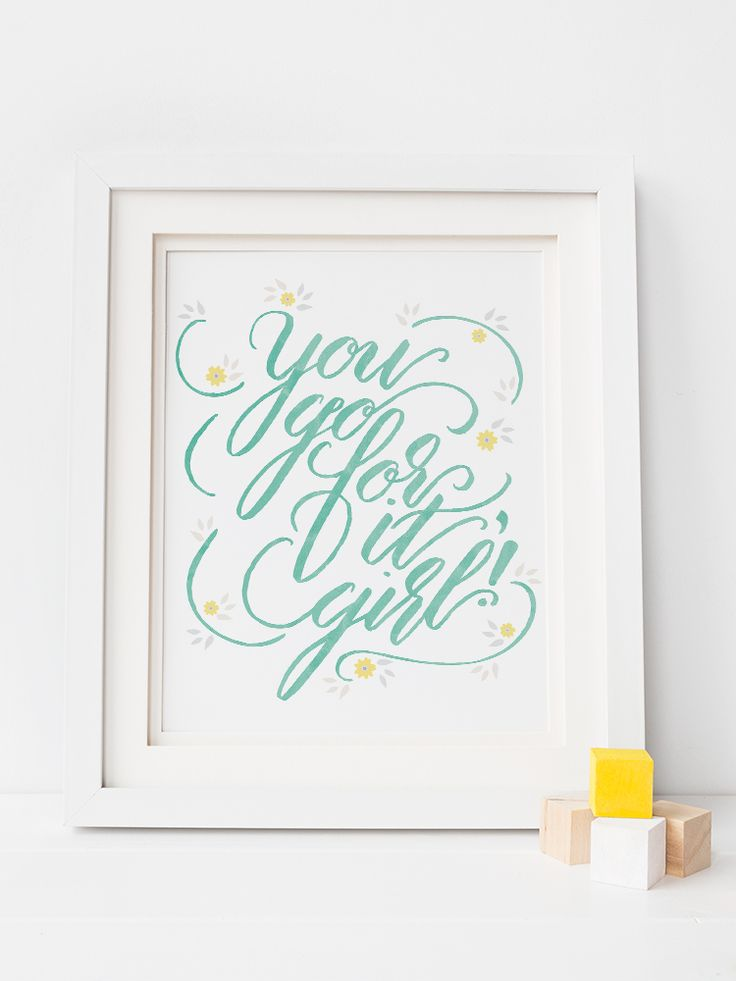 Cute quote art for girls room/nursery, aqua and yellow color scheme. Both printable version and fine art paper/ready-to-frame version!