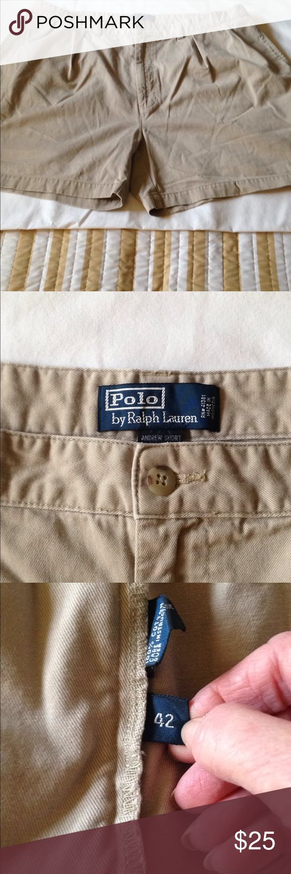 Men's Polo Classic Chino Shorts by Ralph Lauren Men's Polo khaki shorts by Ralph Lauren. Size 42. Polo by Ralph Lauren Shorts