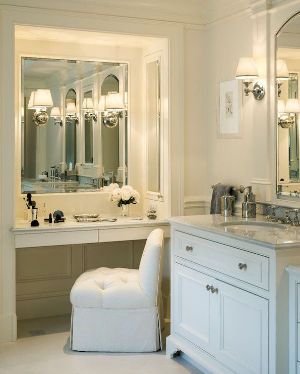 Built In Makeup Vanity Ideas Pretty bathroom with a mauve velvet