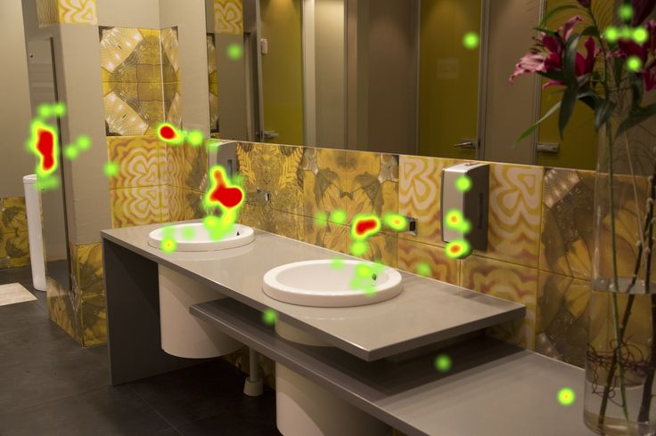 The cleanliness of the washroom is more important than service to 9 out of 10 guests. At the washroom guests look most at the objects they use to wash their hands including taps, soap and hand towel dispensers. Guests also look at the overall design, and details such as fresh flowers which contribute to the experience.
