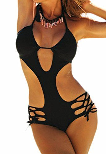 Happy Sailed Women Halter Strappy Plunge Padded One Piece Monokini Bathing Suits, Small Black  Special Offer: $15.99  211 Reviews This monokini is perfect for an active or lazy summer day. Strappy criss-cross side ties and cut outs add a comfort fit and flirty allure to this cheeky...
