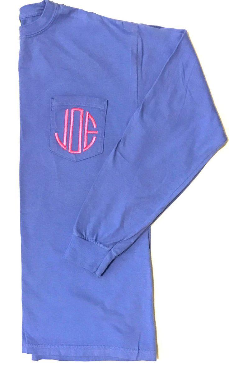 Monogram Shirt, Monogrammed Shirt, Long Sleeve Pocket T Shirt, Monogram T Shirt, Monogrammed T Shirt, Comfort Colors Long Sleeve Shirt, by RkyMtnCrafts on Etsy