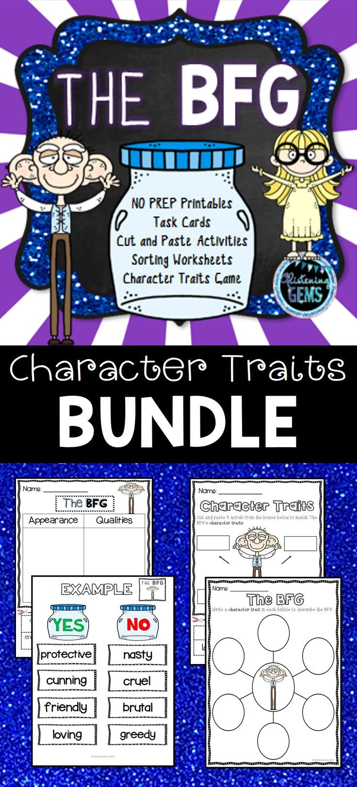 The BFG - Character Traits Bundle.  Activities include: sorting worksheets, cut and paste activities, yes/no game and task cards.