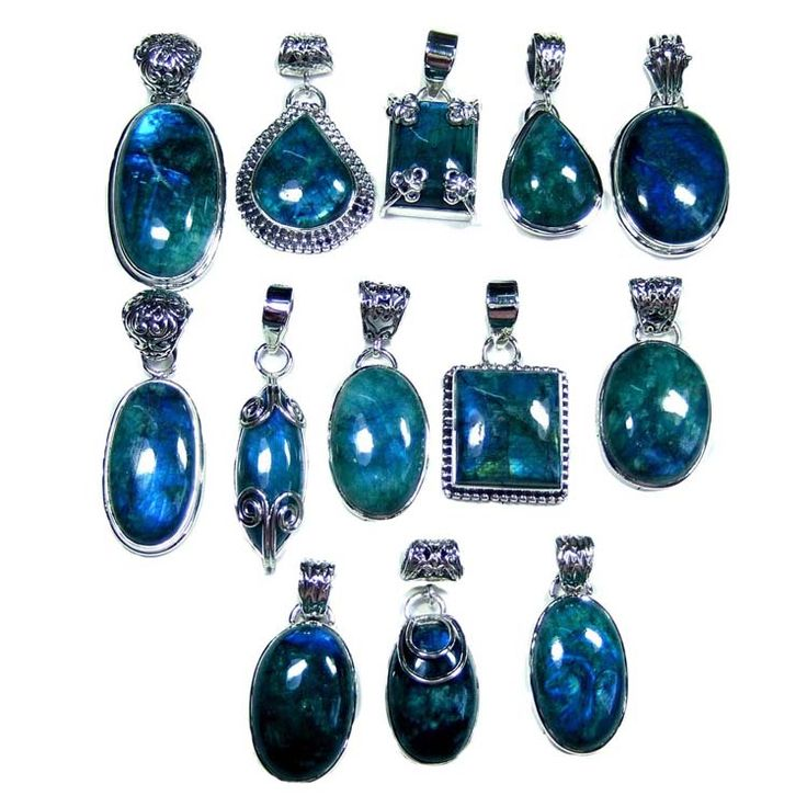 Silver Jewelry Pendants Lot With Green Color Rainbow Gemstones Weight 250 gms Price $USD   285