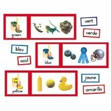 """Color Cards, 22 Word Cards/11 Graphic Color, Grade PK 2 (CPBCD110008) Category: Bulletin Accessories by Carson. $11.49. Sold Individually. Item #: CPBCD110008. Photographic bulletin board has realistic photos with radiant colors. Great teaching tool for the names of colors. The set includes six perforated color charts, each 24"""" x 17""""; 22 cut-apart, color words in Spanish and French, each ranging approximately 3"""" x 2"""" to 7 1/2"""" x 2""""; and a resource guide. Customers ..."""