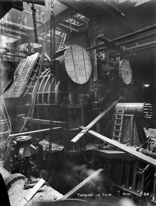 Battleship Engine Room: Olympic's Turbine Engine Being Installed Onboard The Ship