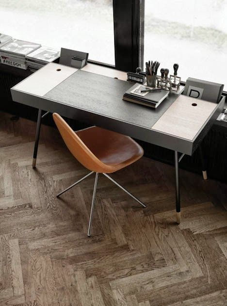 Home Office. Contemporary. Modern. Design. Chevron Wood Floors. Decor. Masculine. Interior.