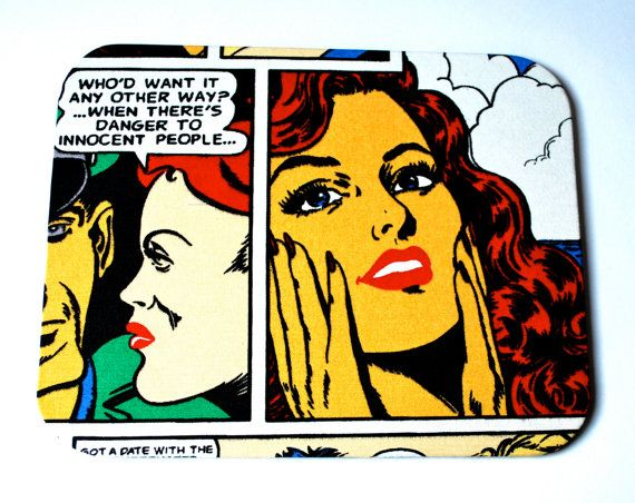 Mousepad Comic Untersetzer Ablage handmade von Arsunica auf Etsy, €11.00