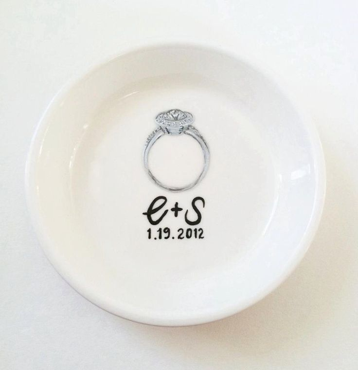 Awesome idea for a gift for a bride - customized to her engagement ring!!  Custom Ring Dish - Your Own Custom Engagement Ring Holder Dish. $58.00, via Etsy seller loveandwhickers/Hand Painted Joy