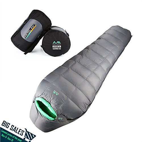 Arctic Monsoon Lightweight Sleeping Bag, Winter Extreme Cold Weather 5 Degree Down Mummy Bags, Ultralight Compression for Adults, Camping, Backpacking, Hiking *** Visit the image link more details.