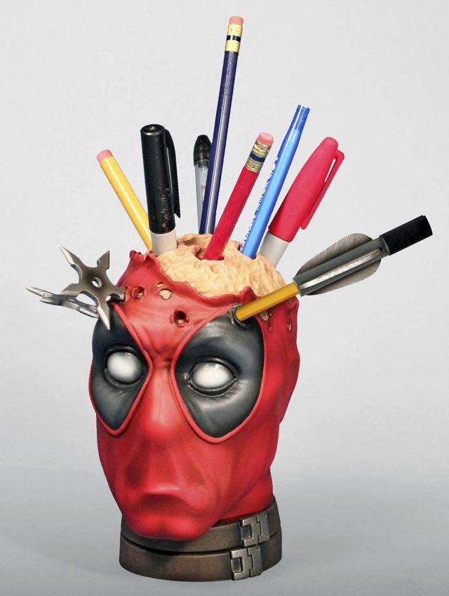 "Thank you, Laughing Squid! ""Gentle Giant, Ltd. has designed an awesome 6 inch tall bust of the Marvel Comics anti-hero Deadpool that functions as a pencil or pen holder for your desk. It is available to pre-order at Gentle Giant, Ltd. and Entertainment Earth."" ($99)"