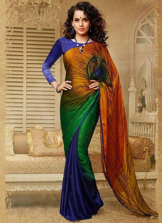 Bolly wood Indian Saree Partywear Saree Kangana Ranaut Saree Multi Colour Faux Georgette Saree Indian Wedding sari Indian Ethnic Saree
