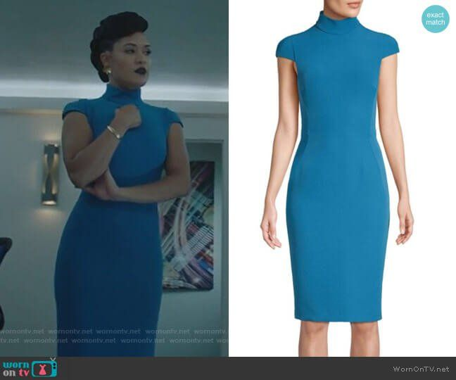 0f51b5306b8 Cap-Sleeve Turtleneck Dress by Versace Collection worn by Grace Byers on  The Gifted