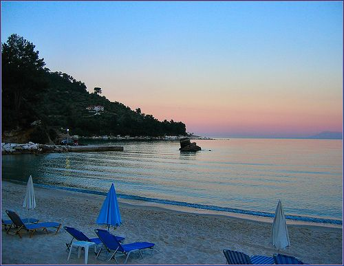 Dusk in Golden Beach - Thassos Macedonia Greece  #Macedonia2014 #Greek #Beaches