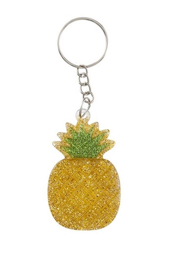 Pineapple Glitter Key Ring - Pineapple Keychain - Pineapple Keyring - Pineapple Key Chain - Petit Bout de France