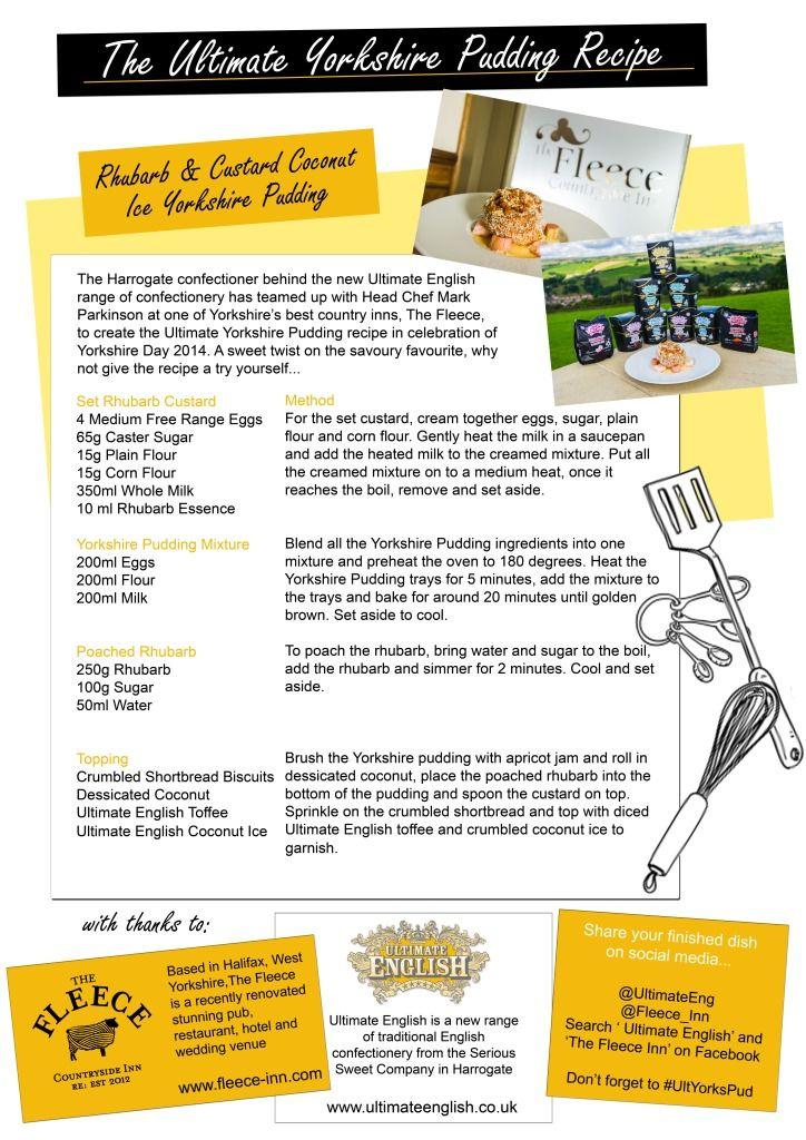 Yorkshire Day - Yorkshire Pudding recipe. Coconut Ice, Toffee, Rhubarb Custard