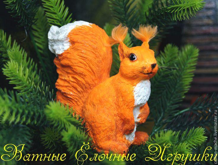 Купить Елочная игрушка из ваты Белка на прищепке, фигурка (ВИ-1501) - оранжевый, белка, бельчонок
