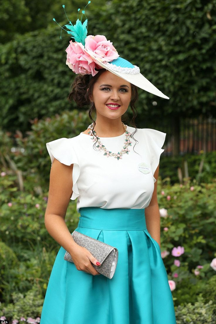 Royal Ascot, June 16, 2016. Irish milliner Jennifer Wrynne shows off one of her own pretty creations...