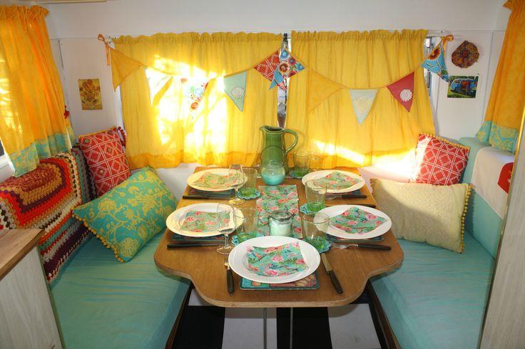 """Special dinner in """"The Marigold"""" - my retro caravan - www.janeenhorneartist.com"""