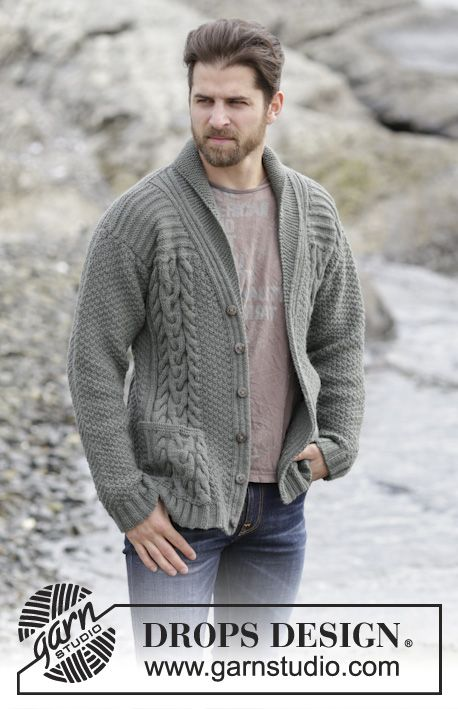"""Cool #knit men's jacket with cables and shawl collar in """"Lima"""". #DROPSDesign"""