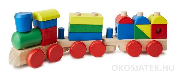 2 éves kortól fa vonat, montessori torony és fa építő kockák egyben...Részletes leírást ld.