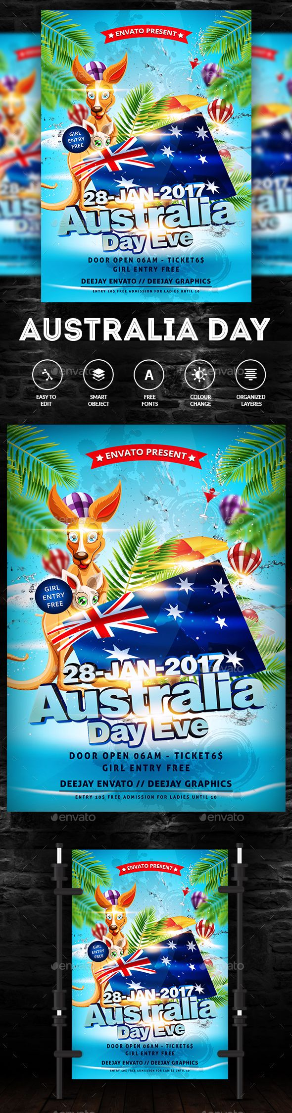 Australia Day Party Flyer Template PSD