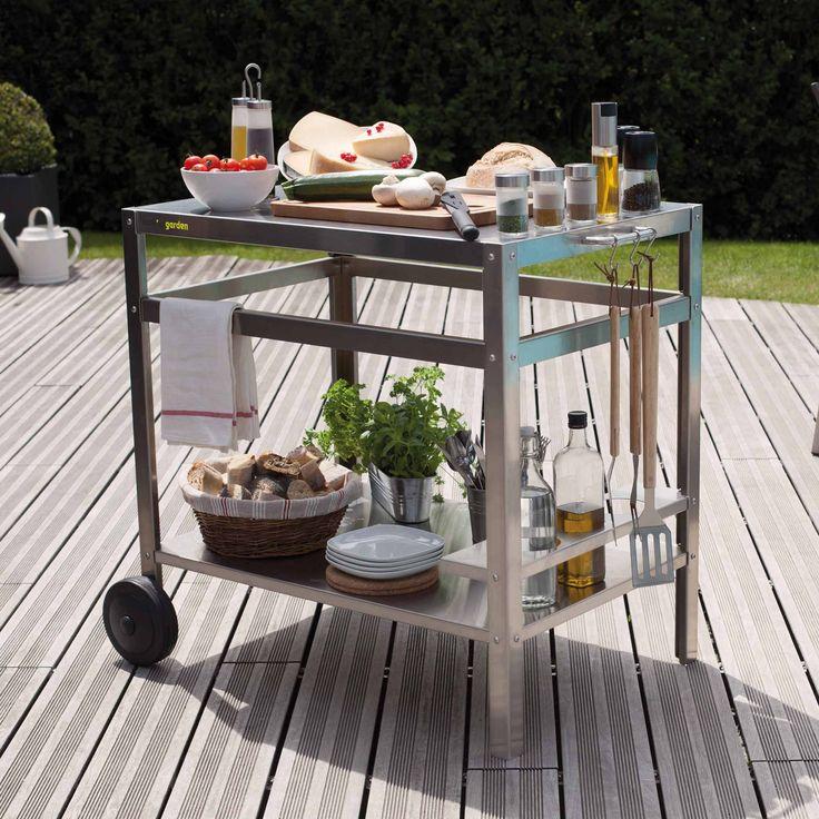 Desserte pour plancha en aluminium avec range bouteilles  Luxuosa (Cook'in Garden)