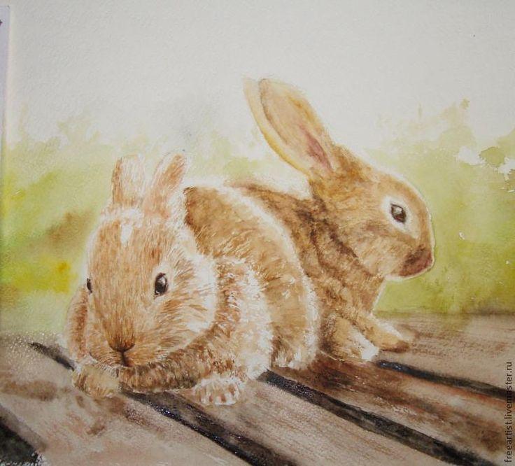 Сегодня я хочу предложить вашему вниманию мастер-класс, где мы будем изображать этих милых пушистых зверьков. Начинаем работу с эскиза. Прежде всего надо обозначить композиционный центр – наших кроликов, отметить вверх и низ, правую и левую сторону, отметить пределы, за которые кролики не должны «выходить», иначе, начиная рисунок с какой-то отдельной части, может получиться так, что ваш кролик «повиснет в воздухе» или «ускачет» влево.