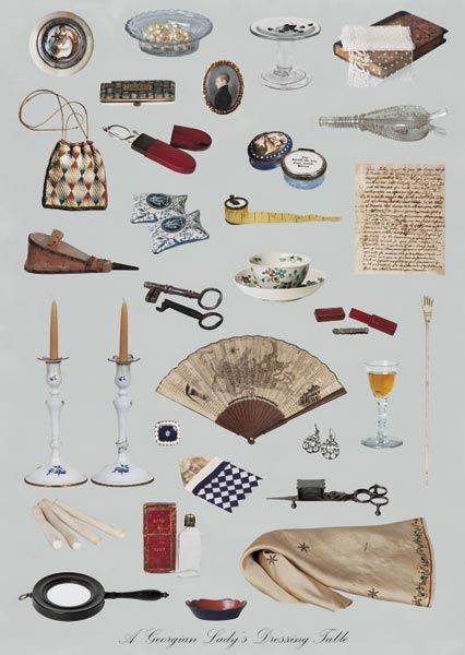 Items Which May Have Been Found on a Georgian Lady's Dressing Table.  These items are nearly all in the collection of Nº 1 Royal Crescent Museum in Bath. A fan depicting a map of Bath, a pair of rare Bilston Enamel Candlesticks c1780, silver tweezers and silver spectacles c1770 in red leather cases. A tiny glass patch dish circa 1750 would have held patches for ladies' faces, worn to cover blemishes from small pox and skin complaints.