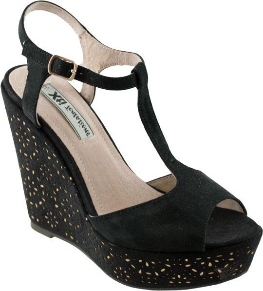 Μαύρες πλατφόρμες με χρυσές λεπτομέρειες από την Xti 29713 | IzyShoes Παπούτσια και αξεσουάρ