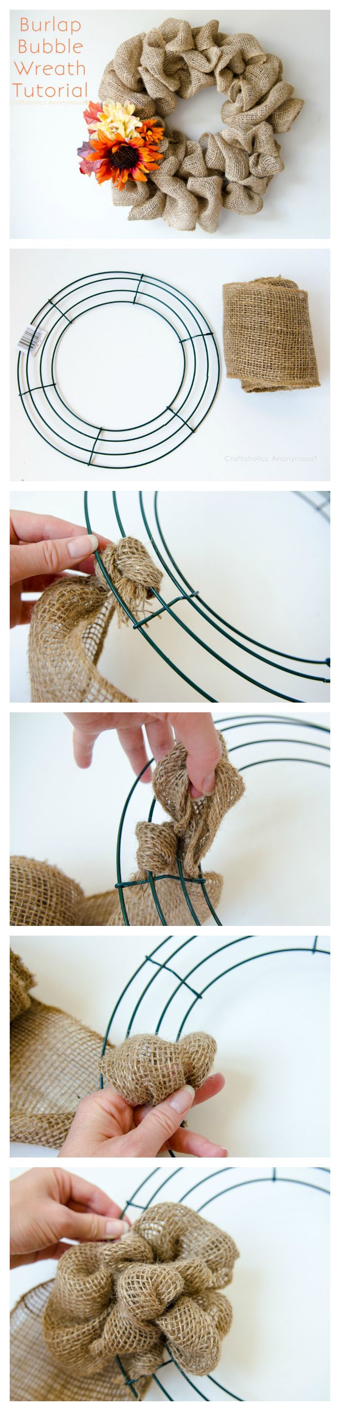 How to make Burlap Wreath for Fall    Super easy fall wreath idea plus you can change our the flowers for year round use.