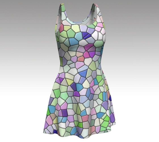 Mosaic Dress, Pastel Dress, Colorful Dress, Stained Glass, Flare Dress, Skater Dress, Fit and Flare, Fitted Dress, Bodycon Dress, Springtime by LaineyDesigns on Etsy