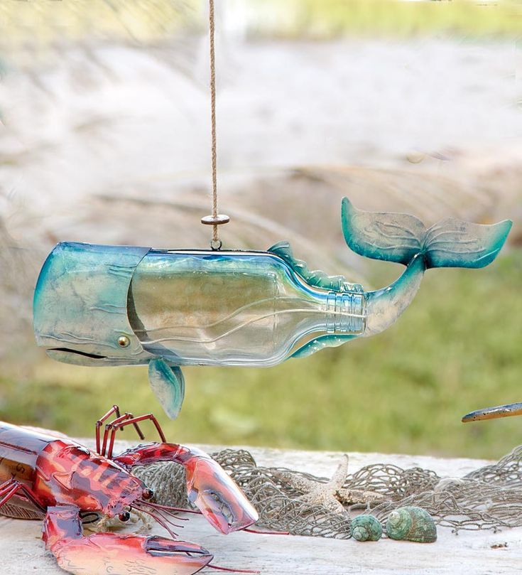 """Recycled Bottle Whale... Wind & Weather, my other favorite.... 13""""L x 6-1/4""""W x 2-1/4""""H"""