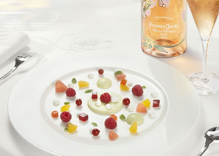Instead of a cake, add enchantment to your birthday meal by with colourful citrus panna cotta and hibiscus jelly with flutes of sublime Perrier-Jouët Belle Epoque Rosé 2004. #perrierjouet Please Drink Responsibly