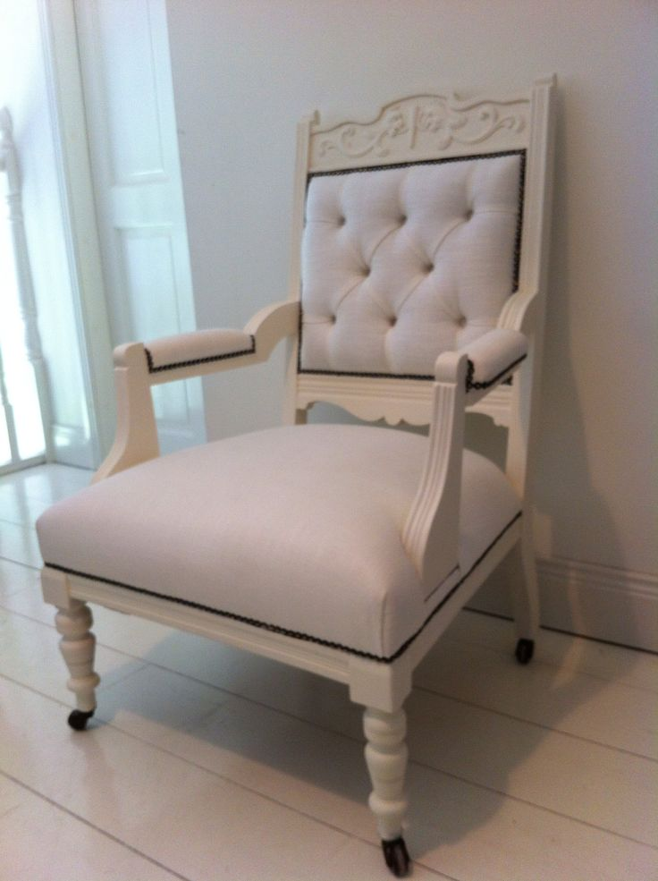 Painted in almost white from Colortrend and upholstered in Irish Linen by www.lamaisonvintagebycarol.com