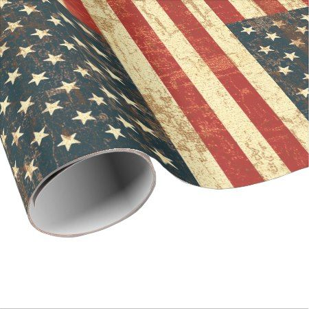 American Flag Vintage Distressed Wrapping Paper - tap, personalize, buy right now!