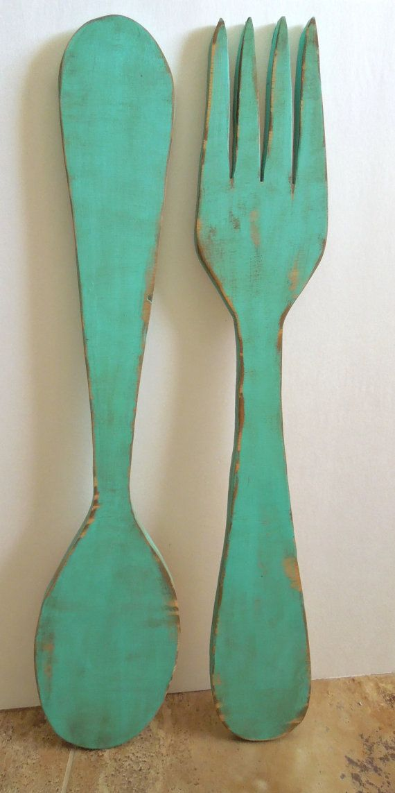 Fork And Spoon Wall Decor Distressed Turquoise Farmhouse Chic Kitchen Wall