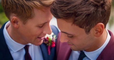 Tom Daley and Dustin Lance Black have shared the first pictures of their wedding day.