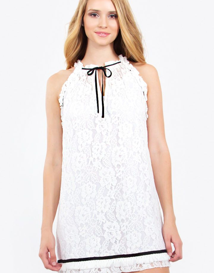– Lace ruffle detail sleeveless dress – Fringe trim hem – Neck tie detail – Lined – Color: White  Size + Fit – Model is wearing size S – Measurements taken from size S – Length: 34.5″ – Chest: 38″