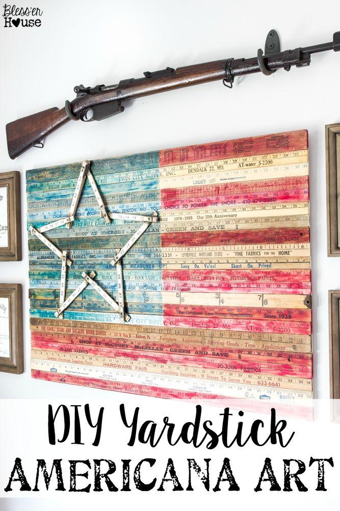 DIY Yardstick American Flag Wall Art (Thrifty Under Fifty)