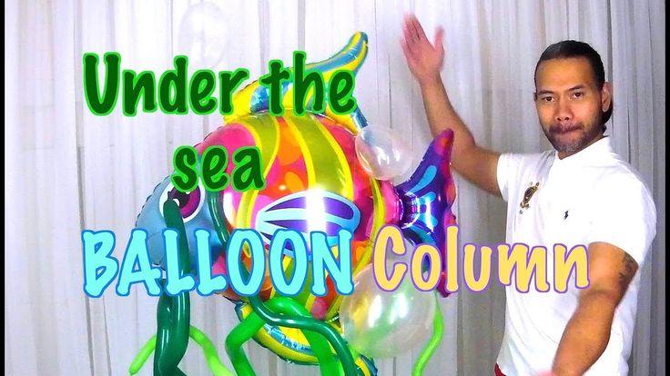 Under the sea balloon column decoration - YouTube
