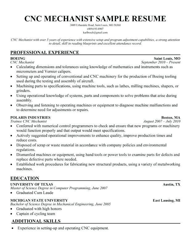 Resume For Cnc Machinist Unique Wire Cut Operator Resumes Samples Sample Mechanic Of Indeed