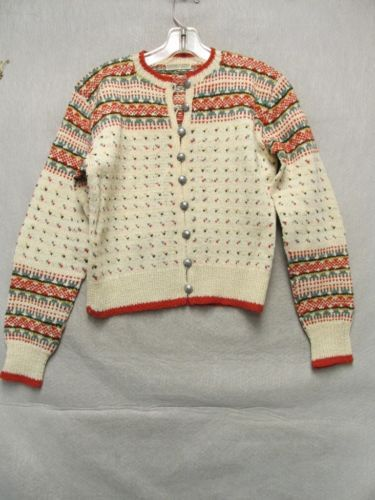 V6636 Handmade in Norway Beige/Red/Green Metallic Button 60's Cardigan Women's M in Clothing, Shoes & Accessories | eBay