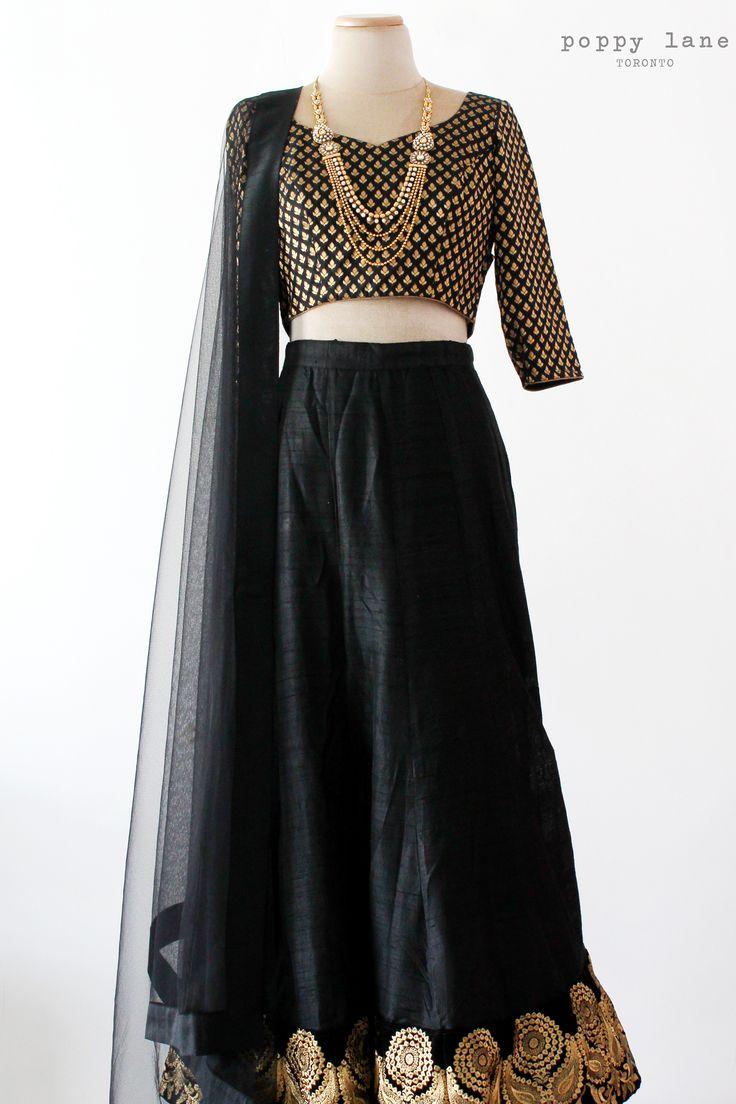 Simple Black Raw Silk Lengha, Black and Gold Chanderi Blouse. Shop now at poppylane.ca