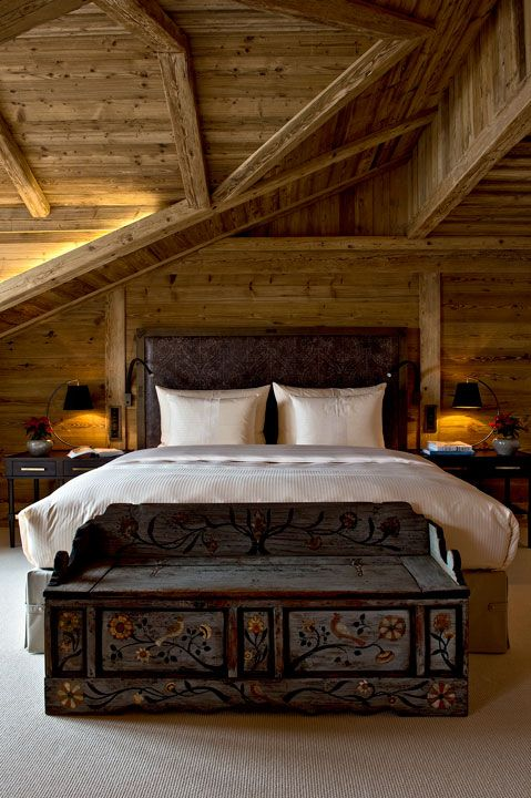 Guest room at The Alpina Gstaad, Switzerland, designed by HBA/Hirsch Bedner Associates