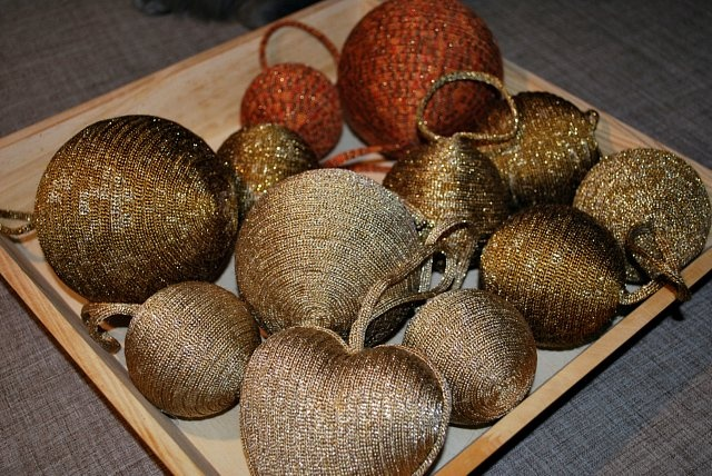 Gold Knitted Christmas Tree Ornaments