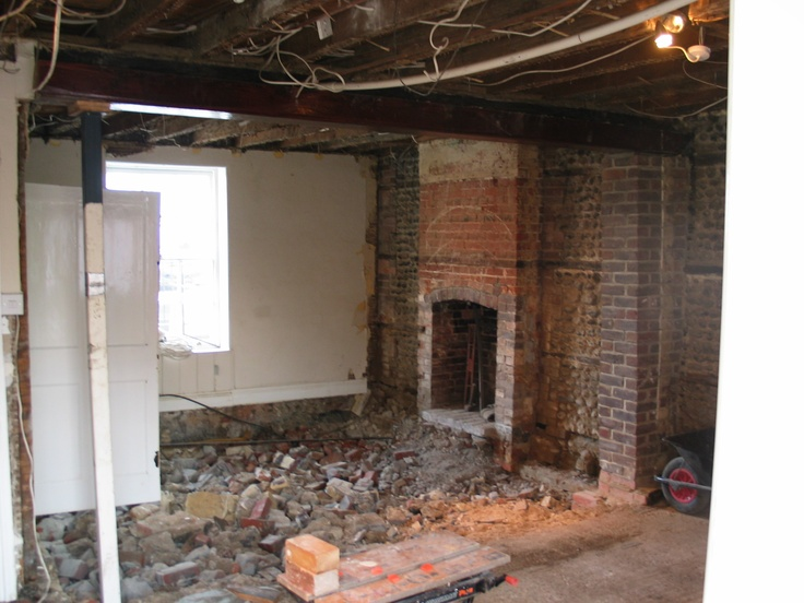 Cellar filled on to stabilize foundations, walls stripped of plasterboard ready for lime plaster.  #restoration #england #home #cellar #brick #plaster #demolition #georgian #renovation #historic #arundel #littlehampton #westsussex