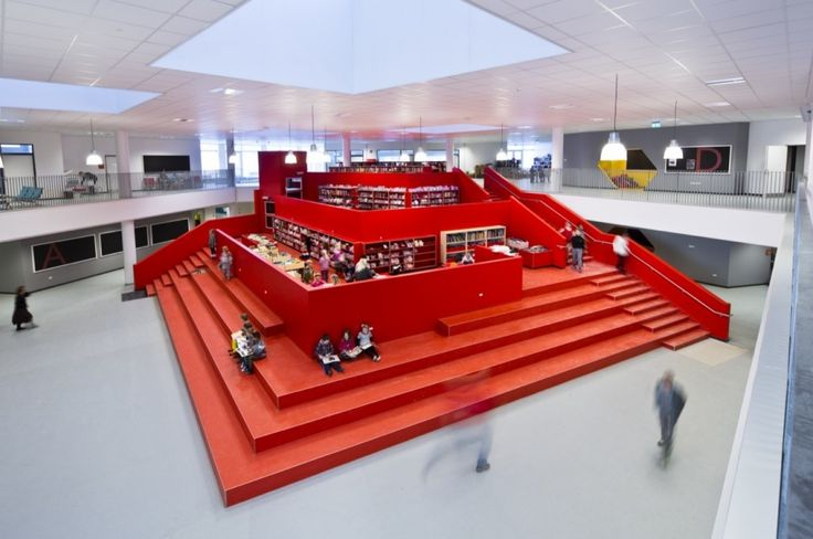 New City School, Frederikshavn  / Arkitema Architects - The central square of the school, that we call the heart has naturally been placed in the centre of the star. This is the meeting point of all zones – a learning space that is enhanced by a big sculptural stairway.
