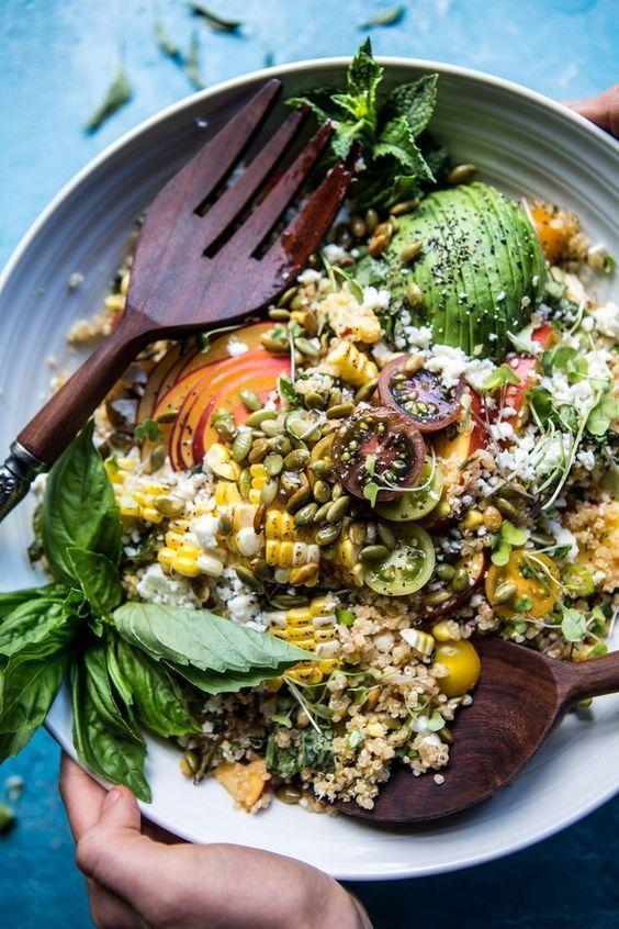 Thai Grilled Corn and Peach Quinoa Salad | http://halfbakedharvest.com /hbharvest/